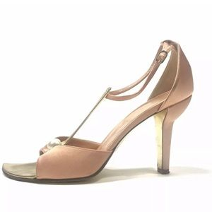 Chanel T Strap Pearl Collection Satin Heels
